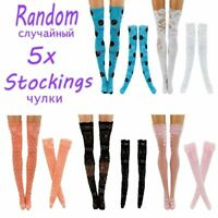 Doll Lace Stockings 5pcs For Barbie Doll Fashion Handmade Clothes Accessories