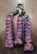 Stars n Stripes Paracord Snake & Diamond Knot Zipper Pulls (3) w/ Silver Clips