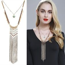 Long Gold Chain Unique Hammered Tassel Pendant Necklace With Earrings