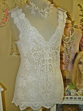 APPAREL LOVE Boho VINTAGE CHIC Ivory COTTON CROCHET LACE Camisole SHIRT TOP S