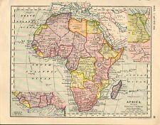 1930 MAPPA AFRICA INSERTO EGITTO NUBIA MADAGASCAR COSTA OCCIDENTALE CONGO