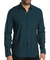 John Varvatos Star USA Men's Long Sleeve Karl Snap Front Solid Shirt Peacock L