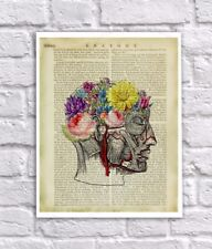 Anatomy Art Print Human Head Flower Brain Vintage Anatomy Book Page Collage Art