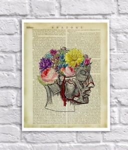 Anatomy Art Print Human Head Flower Brain Vintage Anatomy Book Page Collage Art