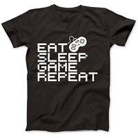 Eat Sleep Game Repeat Gamer Geek Nerd T-Shirt 100% Premium Cotton Gift Retro