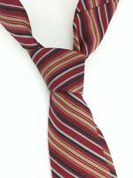 "LANVIN Navy Red Gold Diagonal Striped Silk Mens Vintage Neck Tie 57.5"""