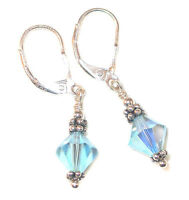 AQUAMARINE Crystal Earrings Sterling Silver MARCH Birthstone Swarovski Elements