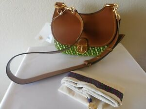New TORY BURCH James Fil Coupe Green Gemini Flocked Small Saddle Shoulder Bag