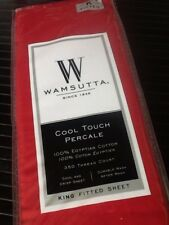 Red Wamsutta Cool Touch Percale 350 TC Egyptian Cotton KING Fitted Sheet