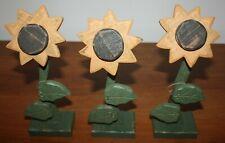 Lot of 3 THREE Sunflower Figure Statue Wood Home Decor Sunflower Figures NEW !!!