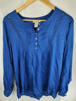 Ariat Rayon Blue Long Sleeve Shirt Blouse Womans Size M.