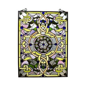 """25"""" x 18"""" Tiffany-Style Victorian Passion Stained Glass window Panel"""