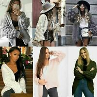 Ladies Womens Bubble Bobble Sleeve Knitted Cardigan Chunky Knit Jumper Jacket