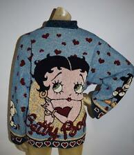 Vintage 80's Betty Boop Embroidered Woven Jacket Sweater Size Large Sz L Cartoon