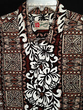 Men's Hilo Hattie   Size L  Hawaiian Aloha Brown Ivory Black SS Shirt Nice!