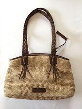 """TULA"" Straw Raffia Summer Handbag With Brown Leather Binding & Handles"