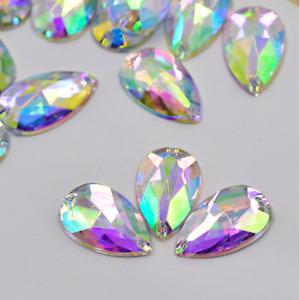 50x Clear AB Flat back Faceted Teardrop Pear Rhinestone Sew On Bead Diamante Gem