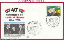 ITALIA FDC FILAGRANO PATTO DI ROMA 1984 DI VITTORIO BUOZZI GRANDI ROMA FIL. Y577