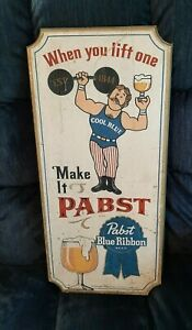 Pabst Blue Ribbon Beer Wooden Sign - Weightlifter - 23 1/2'' X 11''