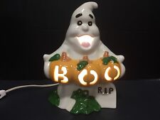 "Ceramic Ghost Pumpkins Light 10"" Halloween Boo RIP"