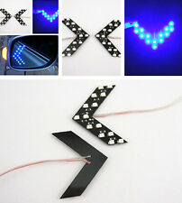 2x Blue 14-SMD LED Arrow Panels For Car Side Mirror Turn Signal Indicator Lights