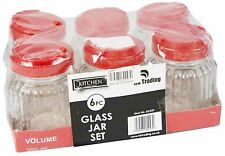 6 X GLASS SPICE PRESERVING JARS  STORAGE JARS CONTAINER CANISTERS KITCHEN HOME