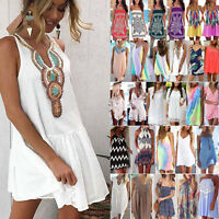 Women Holiday Beach Bikini Cover Up Boho Casual Party Sun Mini Dress Sundress