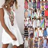 Women Holiday Beach Bikini Cover Up Boho Casual Loose Sun Mini Dress Sundress US