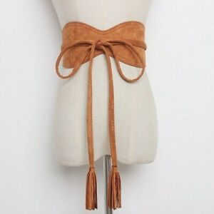 Women Belt Strap Wide Obi Faux Suede PU Leather Waistband Vintage for Dress