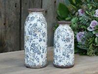 Chic Antique Vase Flasche Bottle blau weiss Keramik Shabby Landhaus und Garten
