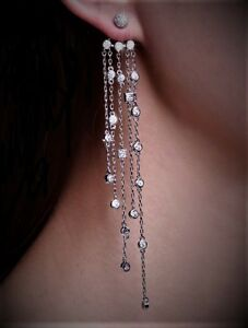 """Wear 3 Ways: Sexy Tiered Silver 4 1/2"""" Waterfall Drop Dangle CRYSTAL EARRINGS UK"""