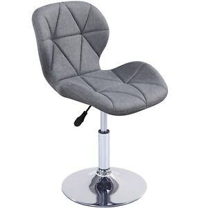 Cushioned Chair Swivel Small Adjustable Computer Desk Fabric Office Dining Grey