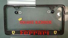 UNIQUE KARBON Carbon Fiber FERRARI License Plate Frame 458 F12 SPYDER SCUDERIA