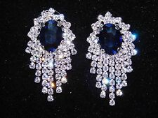 Sapphire Blue with Clear Rhinestone Bridal / Chandelier Silver Clip Earrings