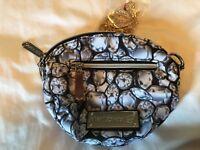 BETSEY JOHNSON Makeup Bag Plus Necklace Bag Black Silver Defect GUC Jewelry Case