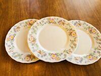 "3 Vintage Arcopal France Champetre Milk Glass 7.75"" Floral Salad Plates MINTY"