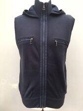 Antony Morato sin mangas con capucha Chaleco Cremallera Suéter Rib Knit M 48 Azul Vintage