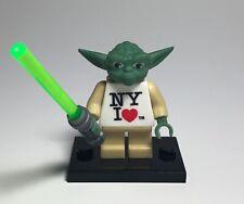 Custom I <3 NY Yoda Minifigure Green Lightsaber Heart Star Wars Building Blocks