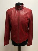 G128 WOMENS St MICHAEL RED 7492 563 RED LEATHER BIKER STYLE JACKET UK 12