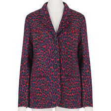 Christopher Kane Red Leopard Print Wool Ponte Jacket Blazer IT42 UK10