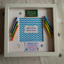 PERSONALISED CHILDs FIRST 1ST DAY AT SCHOOL NURSERY FRAME CRAYONS BOY BLUE
