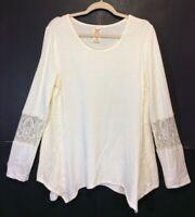 Faded Glory Ivory Tunic L Long Sleeve Crochet Lace Handkerchief Hem NWOT