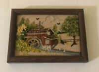 "Vintage Crewel Embroidery Mill & Water Wheel Trees  Wood Frames approx 8"" x 6"""