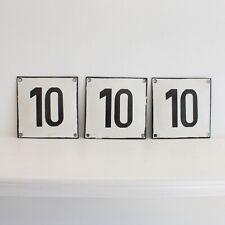 Vintage Bulgarian enamel house number 10 - enamel sign