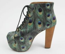 Jeffrey Campbell Shoes Lita Peacock Feather Print Satin Ankle Boots, 7