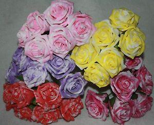 Two Tone Foam Rose 6 Stem Wedding Flowers