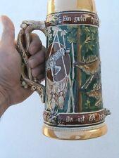 Antique Germany Beer Stein Mug Tankard 1/2L HP Hunting Scene Raised Heads AS IS