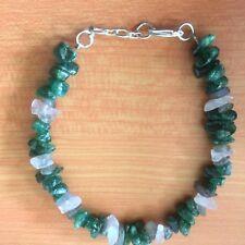 "CB42 Emerald green & white quartz bracelet NATURAL STONES 7.5""- 8"" BOXD Plum UK"