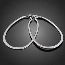 Big & Bold New 925 Sterling Silver Plated Large Flat Oval U-Shaped Hoop Earrings