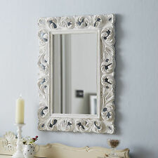 Large Ornate Mirror Carved - Antique White
